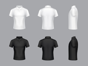 Collection of 3d realistic white and black polo t-shirts. Short sleeves, fashion design.