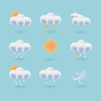 3d 날씨 아이콘의 컬렉션입니다. 무성한 구름 벡터. 일기 예보 기호 ui 디자인.