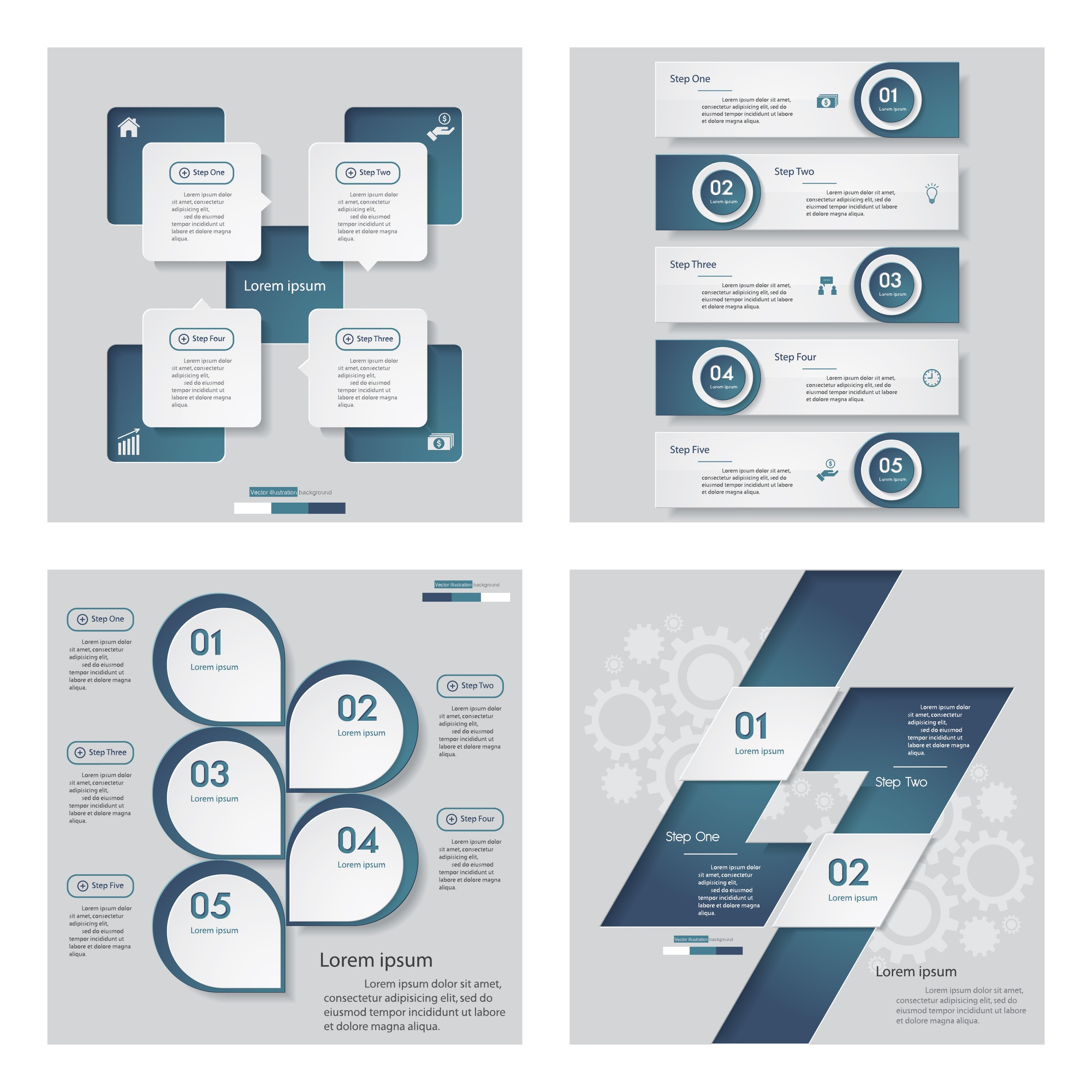 Collection of 4 blue color design template