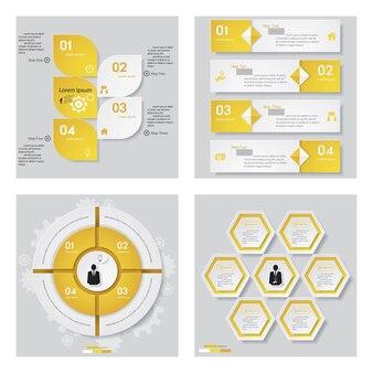 Коллекция из 4 шаблонов дизайна желтого цвета.