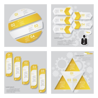 Collection of 4 yellow color design template.