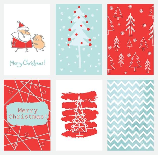 6개의 크리스마스 카드 템플릿 모음입니다. 크리스마스 포스터 세트입니다. 벡터 일러스트 레이 션. 스크랩북, 축하, 초대장 인사말을 위한 템플릿입니다.
