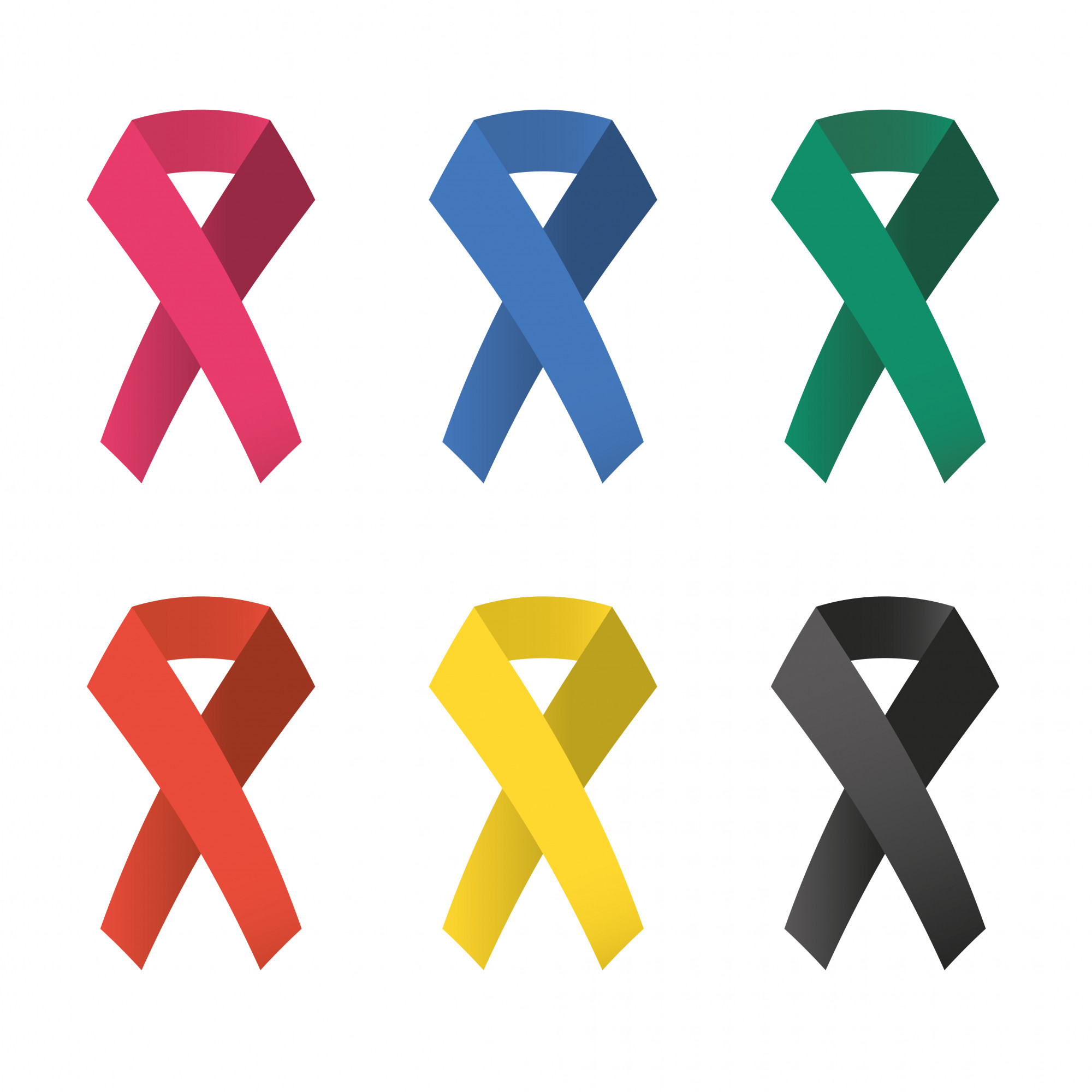 Collection of 6 color awareness ribbons