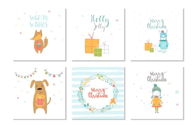 動物のプレゼントとレタリングが描かれた6つのメリークリスマスかわいいグリーティングカードのコレクション手描き
