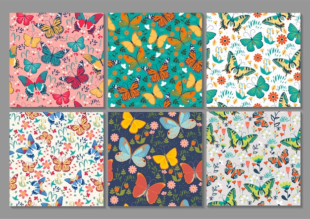 Коллекция из 6 бесшовных узоров с бабочками.