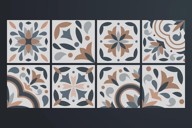 Коллекция из 8 керамических плиток в винтажном стиле Premium векторы