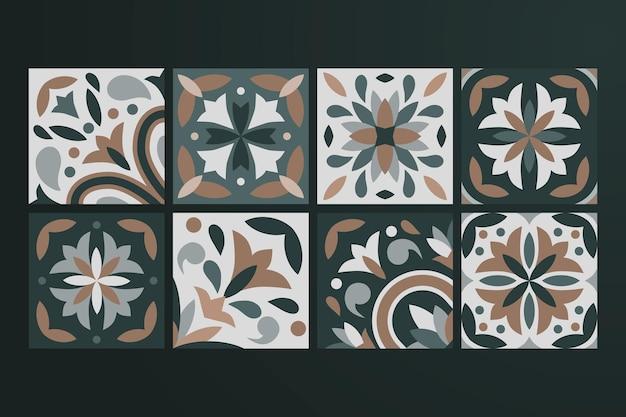 Коллекция из 8 керамических плиток Premium векторы
