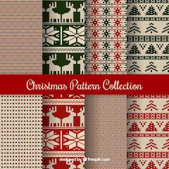 8つのニットクリスマスパターンのコレクション