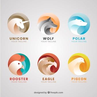 抽象的な動物のロゴのコレクション
