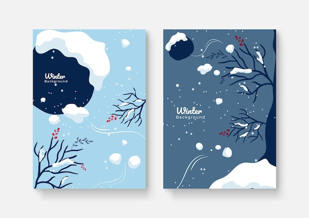 抽象的な背景デザイン、冬のセール、ソーシャルメディアのプロモーションコンテンツのコレクション。ベクトルイラスト