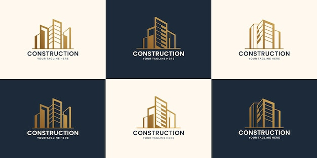 抽象的な建物の建設と建築ロゴデザインテンプレートのコレクションプレミアムベクトル