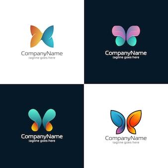 Collection of abstract butterfly logo templates