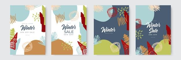抽象カードの背景デザインのコレクションは、組織との冬のセールソーシャルメディアプロモーションコンテンツをデザインします...