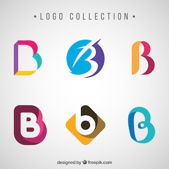 Collection of abstract colored logos with letter  b
