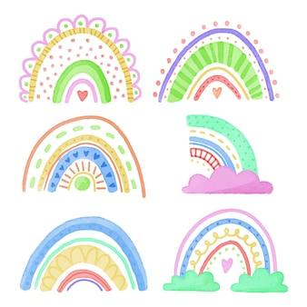 雲と抽象的なカラフルな虹のコレクション