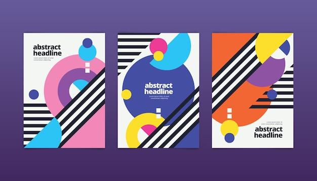 Коллекция абстрактных обложек с геометрическими формами
