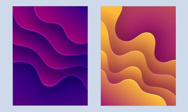 액체 흐름 또는 유체 배경으로 추상적 인 디자인의 컬렉션