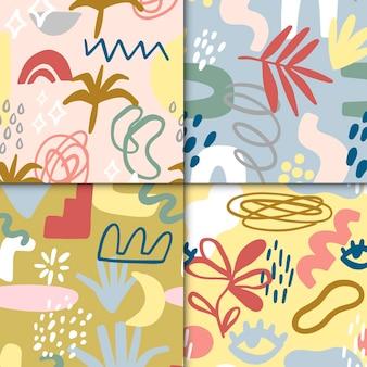 Коллекция абстрактных нарисованных узоров