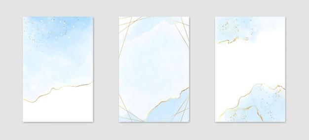 Коллекция абстрактного пыльного синего жидкого акварельного фона с золотыми пятнами и рамкой