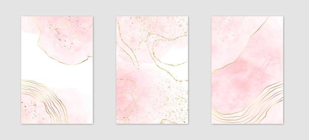 金色の線と多角形のフレームと抽象的なほこりっぽいピンクの液体水彩背景のコレクション