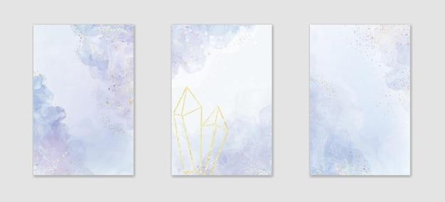 抽象的なほこりっぽい紫の液体の水彩画の背景のコレクション