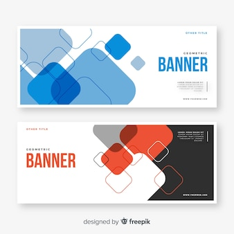 Collection of abstract geometric banners