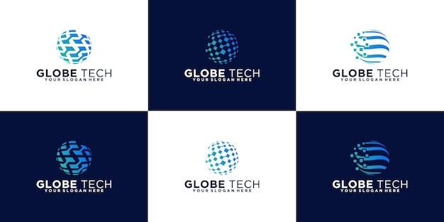 추상 글로브 로고 디자인의 컬렉션입니다. 디지털 비즈니스, 기술에 대 한 아이콘입니다.
