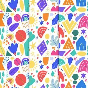 抽象的な手描きのパターンのコレクション