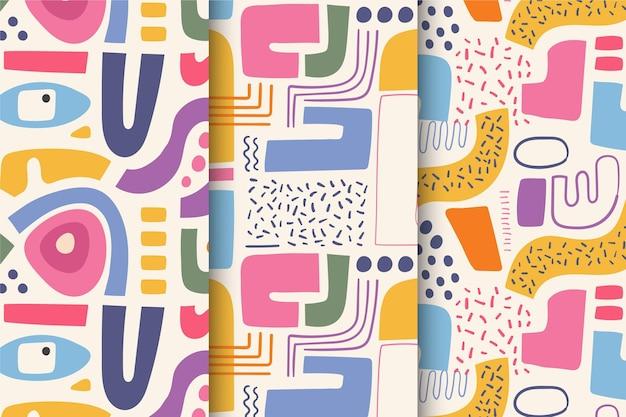 추상 손으로 그린 패턴의 컬렉션