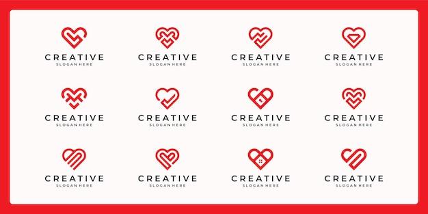 다양 한 조합으로 추상 심장 모양 로고의 컬렉션입니다.