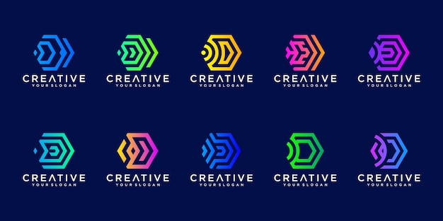 추상 육각 문자 d 기술 로고의 컬렉션