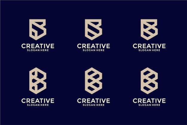 Коллекция абстрактных логотипов буква b