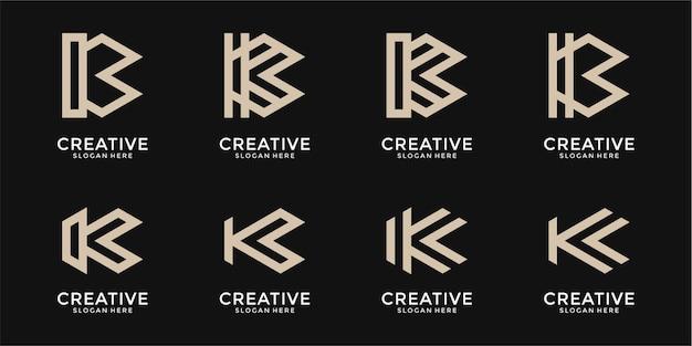 抽象的な文字kのロゴデザインのコレクション