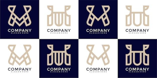 抽象文字mロゴデザインテンプレートのコレクション