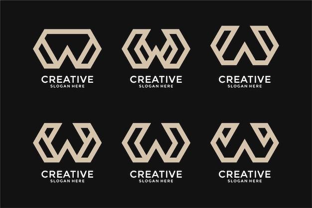 抽象文字wロゴデザインのコレクション