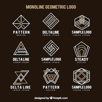 추상적 인 선형 로고의 컬렉션