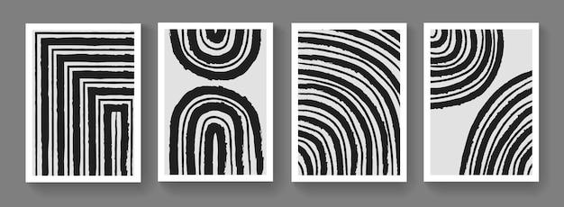 抽象ミニマリストミッドセンチュリーモダンポスターのコレクション。壁の芸術のための手描きの構成。シンプルな幾何学的なアートワーク。