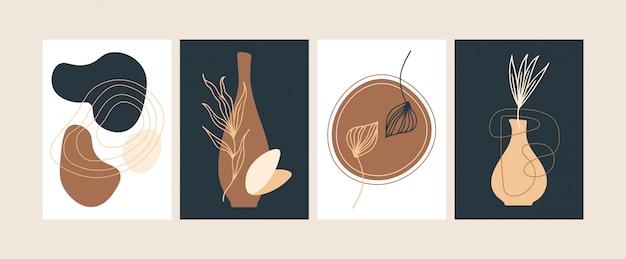 추상적 인 현대 식물 포스터 벡터 평면 일러스트 레이 션의 컬렉션