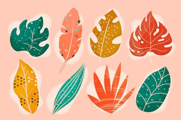 추상 열 대 잎의 컬렉션