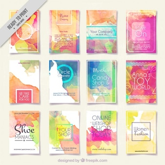 collection of abstract watercolor flyer