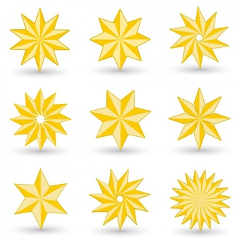 Collection of abstract yellow stars