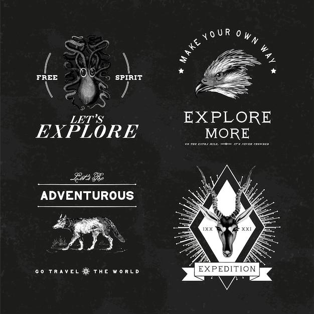 모험 로고 디자인 벡터의 컬렉션
