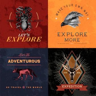 冒険のロゴデザインベクトルのコレクション
