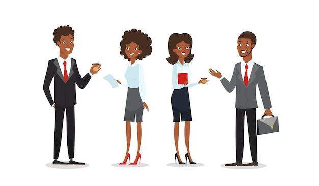 漫画のスタイルで話しているアフリカ系アメリカ人のビジネスマンとビジネスウーマンのコレクション