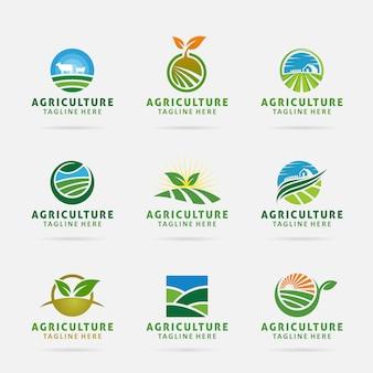 Коллекция сельского хозяйства дизайн логотипа