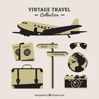 レトロスタイルの旅行要素を備えた飛行機のコレクション