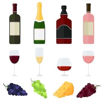 알코올 음료 및 가벼운 스낵 컬렉션입니다. 만화 스타일입니다. 와인, 샴페인, 위스키. 벡터 일러스트 레이 션 흰색 배경에 고립입니다.
