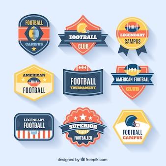 アメリカンフットボールのバッジのコレクション
