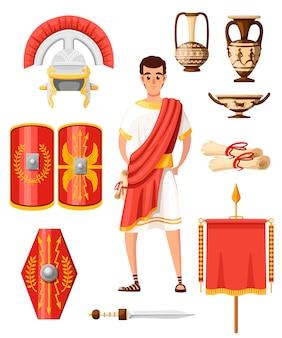 古代ローマのアイコンのコレクション。スタイル。ローマの服、鎧、武器、家庭用品。漫画のキャラクター 。白い背景のイラスト