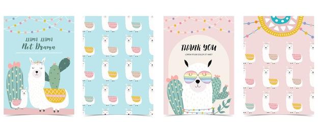 라마 선인장 세트 동물 카드 컬렉션